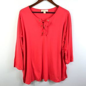 Michael Kors Womens Lace Up Top 2X